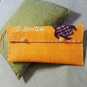Vintage St. Martin Straw Wristlet